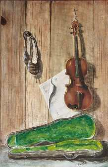 Morris Painting of Violin and Ballet Shoes